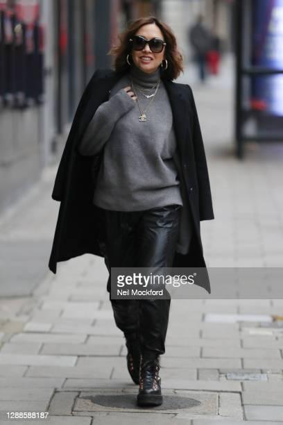 Myleene Klass seen arriving at Smooth Radio Studios on November 30, 2020 in London, England.