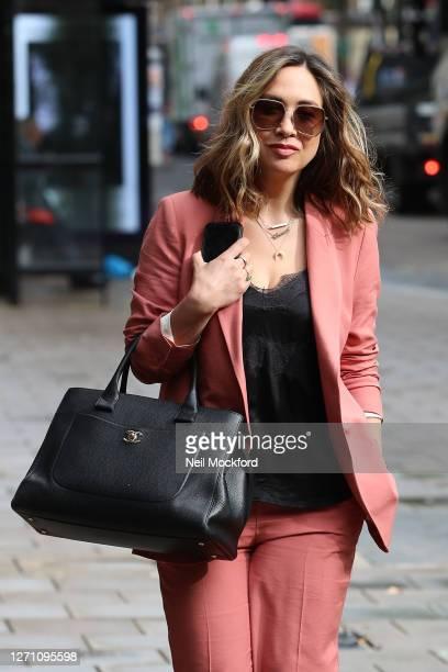 Myleene Klass seen arriving at Smooth Radio Studios on September 07, 2020 in London, England.
