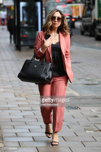 Myleene Klass seen arriving at Smooth Radio Studios on September 07, 2020 in London, England.