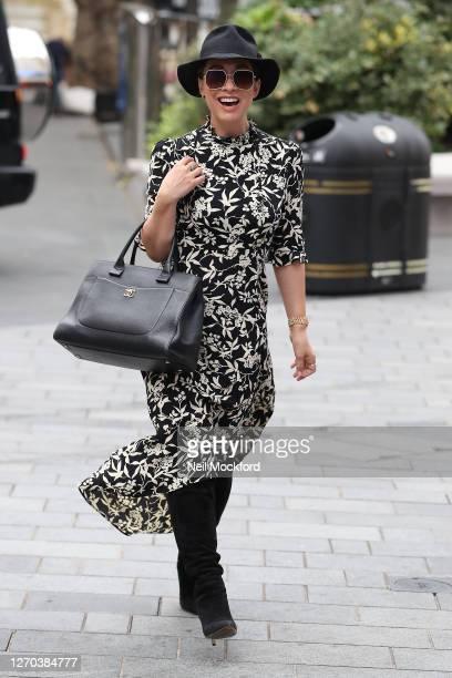 Myleene Klass seen arriving at Smooth Radio Studios on September 3 2020 in London England