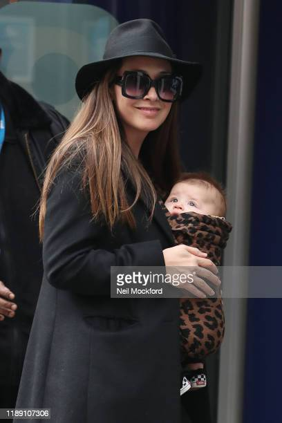 Myleene Klass seen arriving at Smooth Radio Studios with her son Apollo on November 21, 2019 in London, England.