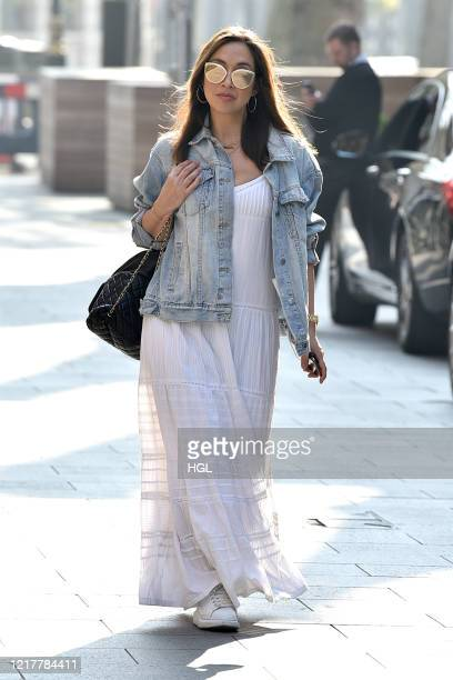 Myleene Klass seen arriving at the Global studios for her Smooth Radio show on April 09, 2020 in London, England.