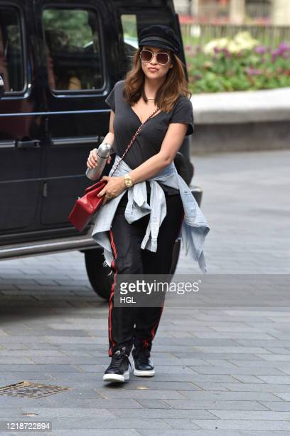 Myleene Klass seen arriving at the Global studios for her Smooth Radio show on April 14, 2020 in London, England.