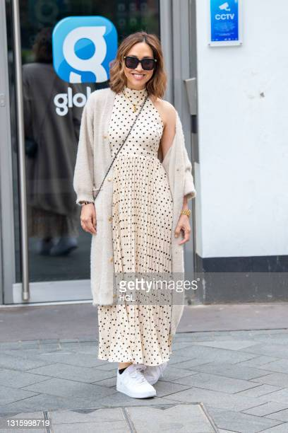 Myleene Klass seen arriving at the Global Studios for her Smooth Radio show on May 03, 2021 in London, England.