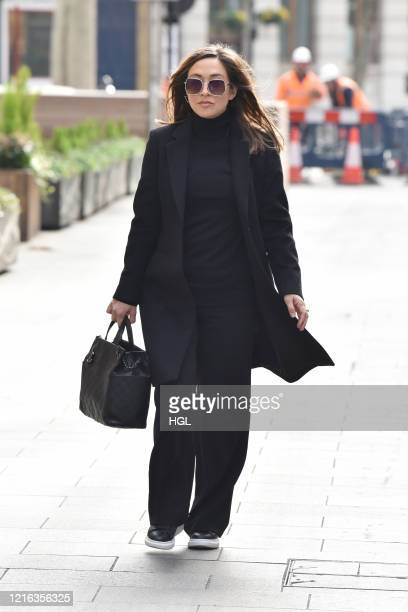 Myleene Klass seen arriving at the Global studios for her Smooth Radio showon April 02 2020 in London England