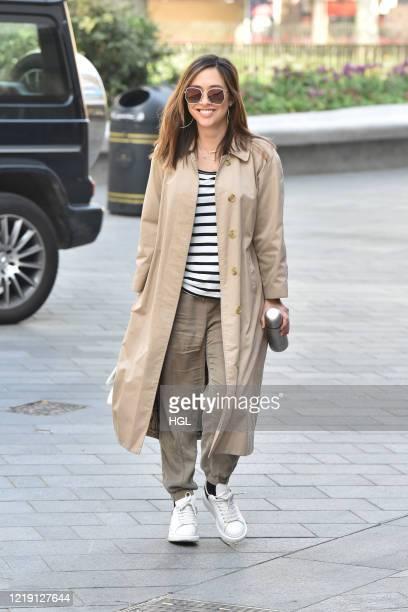Myleene Klass seen arriving at the Global studios on April 16, 2020 in London, England.
