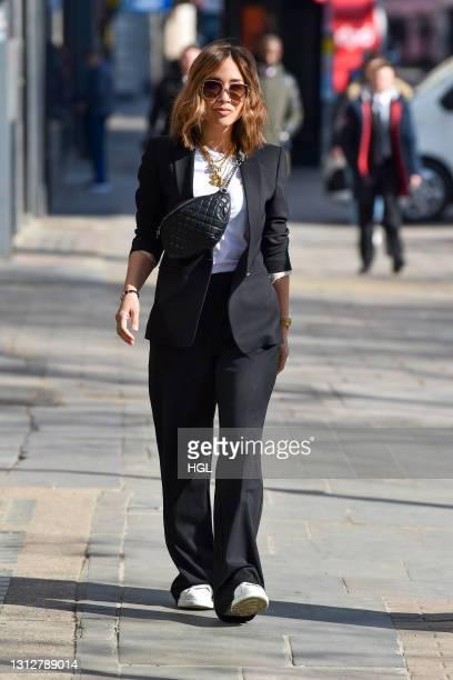 Myleene Klass seen arriving at the Global studios on April 16, 2021 in London, England.