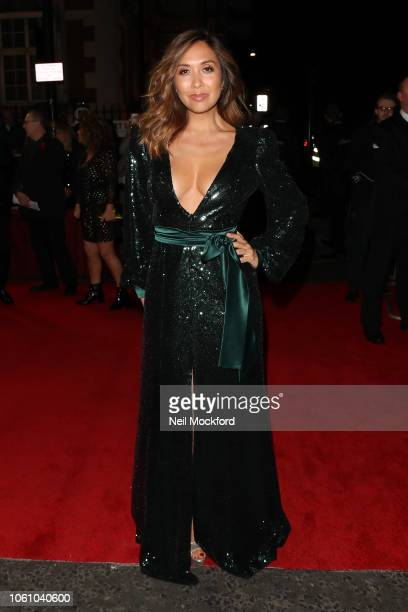 Myleene Klass seen arriving at the Pride of Britain Awards at the Grosvenor Hotel on October 29, 2018 in London, England.