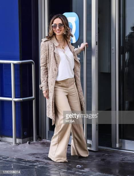 Myleene Klass seen departing Global Radio Studios on April 9, 2021 in London, England.