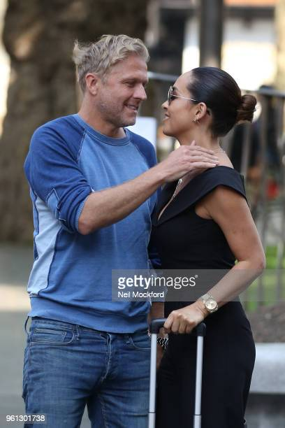 Myleene Klass seen embracing Simon Motson as she arrives at Smooth Radio Studios on May 22 2018 in London England