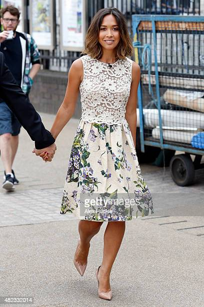 Myleene Klass seen filming 'This Morning' on the Southbank on July 30 2015 in London England