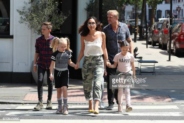 Myleene Klass seen heading to BBC Radio 2 with her boyfriend Simon Motson and their children on June 10 2018 in London England