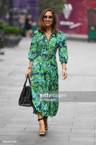 Myleene Klass seen leaving Smooth Radio Studios on August 16, 2021 in London, England.