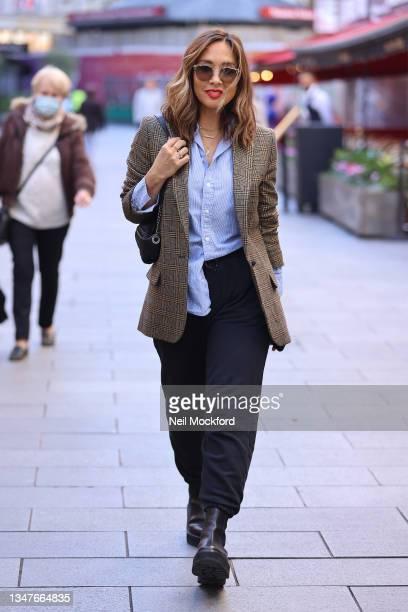 Myleene Klass seen leaving Smooth Radio Studios on October 20, 2021 in London, England.