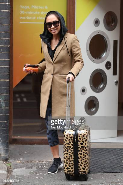 Myleene Klass seen leaving the Good Vibes Studios after the launch of MyBody by Myleene Klass on February 7 2018 in London England