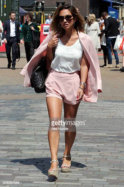Myleene Klass seen leaving the Old Truman Brewery after giving a talk at Graduate Fashion Week on June 6 2016 in London England