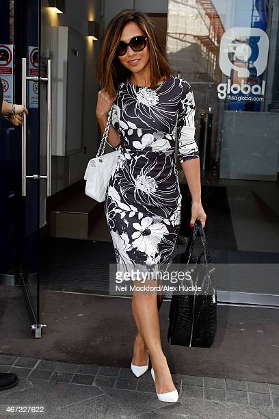 Myleene Klass seen leaving the Smooth Radio Studios Leicester Square on March 23 2015 in London England