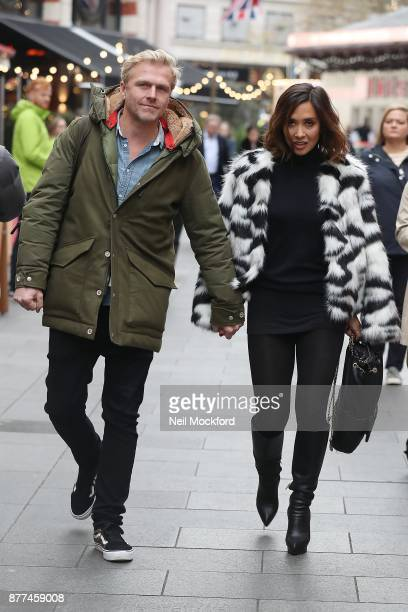 Myleene Klass seen leaving the Smooth Radio Studios with boyfriend Simon Motson before jumping in a taxi on November 22 2017 in London England