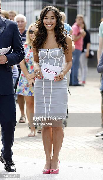 Myleene Klass Sighted on the Southbank presenting This Morning on July 30 2010 in London England