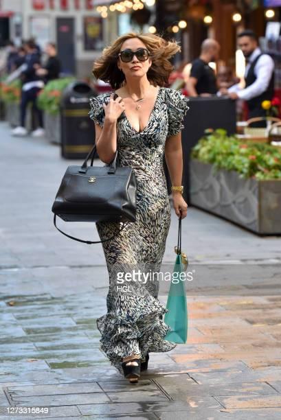 Myleene Klass sighting outside the Global Studios on September 18, 2020 in London, England.