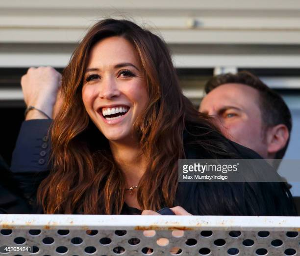 Myleene Klass watches the racing as she attends the Hennessy Gold Cup Race Day at Newbury Racecourse on November 30 2013 in Newbury England