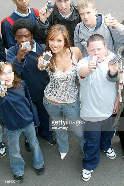 Myleene Klass with students during Myleene Klass Launches National Children's Charity to Prevent Text Bullying in London Great Britain
