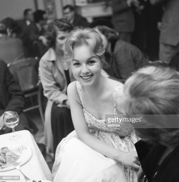 Mylene Demongeot french actress pictured in London Wednesday 26th March 1958 Mylene is in the UK for the premiere of film Bonjour Tristesse in which...