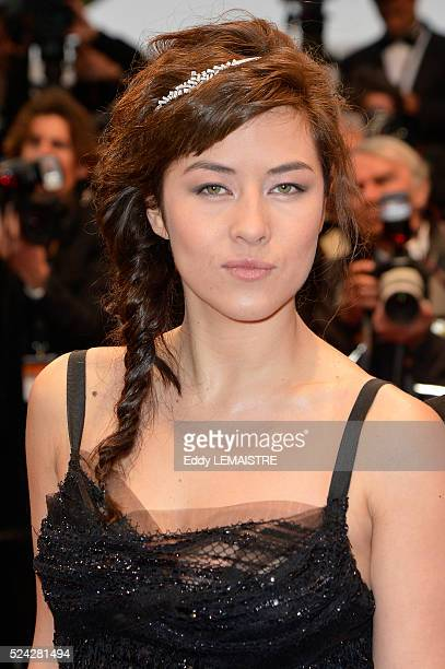 Mylene Jampanoi arrives at the Amour Premiere during the 65th Cannes Film Festival.