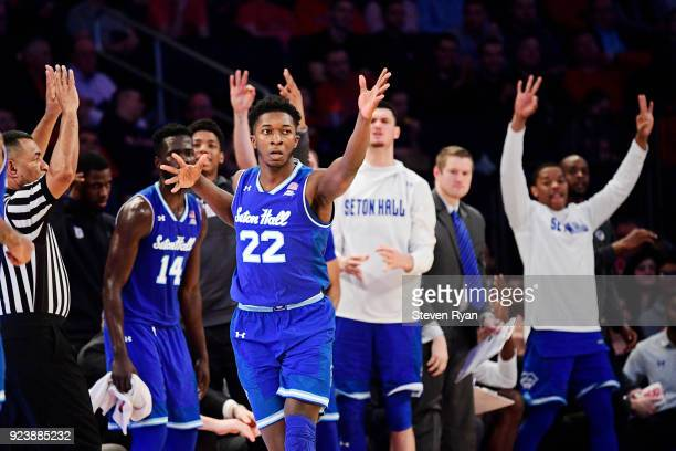 Myles Cale of the Seton Hall Pirates celebrates after scoring a three point basket against the St John's Red Storm during the second half an NCAA...