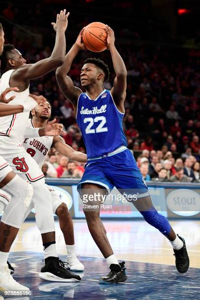 Myles Cale of the Seton Hall Pirates drives to the basket against the St John's Red Storm during the first half of an NCAA basketball game at Madison...