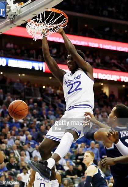 Myles Cale of the Seton Hall Pirates dunks and injures himself on this play in the overtime period against the Villanova Wildcats on February 28 2018...