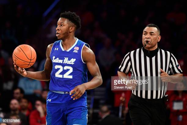 Myles Cale of the Seton Hall Pirates in action against the St John's Red Storm during an NCAA basketball game at Madison Square Garden on February 24...