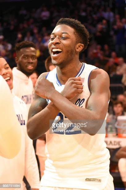 Myles Cale of the Seton Hall Pirates is introduced before the quarterfinal round the Big East Men's Basketball Tournament against the Butler Bulldogs...