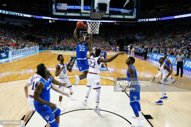 Myles Cale of the Seton Hall Pirates jumps for a shot against the Kansas Jayhawks in the second round of the 2018 NCAA Men's Basketball Tournament...