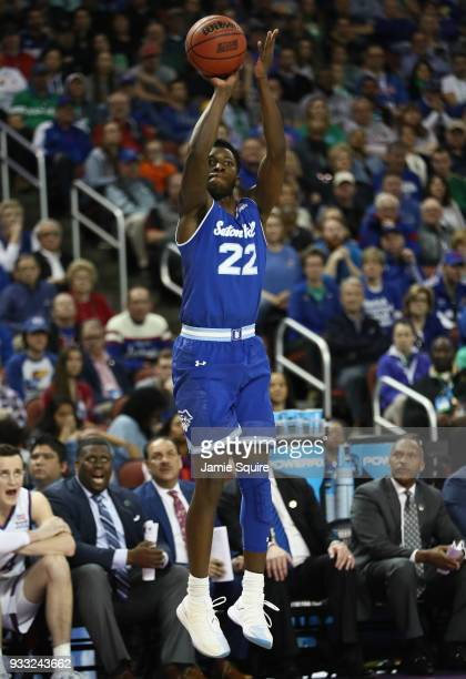 Myles Cale of the Seton Hall Pirates shoots a jump shot against the Kansas Jayhawks in the first half during the second round of the 2018 NCAA Men's...
