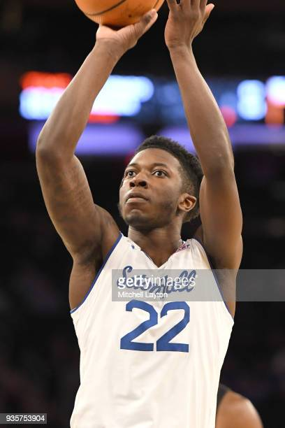 Myles Cale of the Seton Hall Pirates takes a foul shot during the quarterfinal round the Big East Men's Basketball Tournament against the Butler...