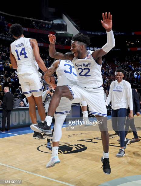 Myles Cale,Shavar Reynolds and Jared Rhoden of the Seton Hall Pirates celebrate the win over the Marquette Golden Eagles on March 06, 2019 at...