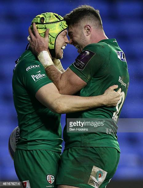 Myles Dorrian of London Irish celebrates with team mate Eamonn Sheridan after scoring the winning try during the European Rugby Challenge Cup pool 1...