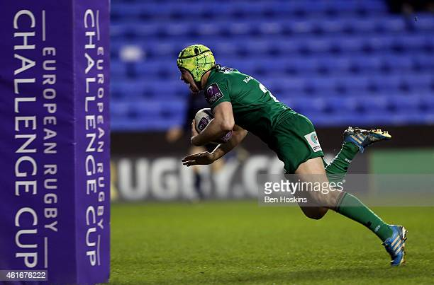 Myles Dorrian of London Irish dives over to score the winning try during the European Rugby Challenge Cup pool 1 match between London Irish and...