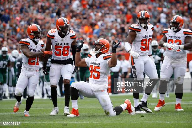 Myles Garrett of the Cleveland Browns celebrates a play in the game against the New York Jets at FirstEnergy Stadium on October 8 2017 in Cleveland...