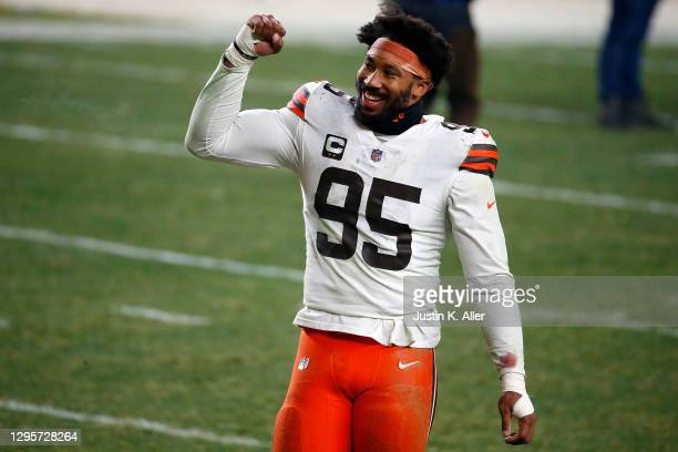 Myles Garrett of the Cleveland Browns celebrates a victory over the Pittsburgh Steelers in the AFC Wild Card Playoff game at Heinz Field on January...