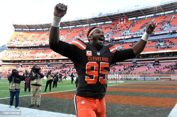 Myles Garrett of the Cleveland Browns celebrates defeating the Atlanta Falcons at FirstEnergy Stadium on November 11 2018 in Cleveland Ohio The...