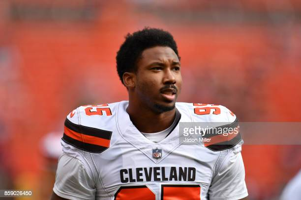 Myles Garrett of the Cleveland Browns during warmups before the gam against the New York Jets at FirstEnergy Stadium on October 8 2017 in Cleveland...
