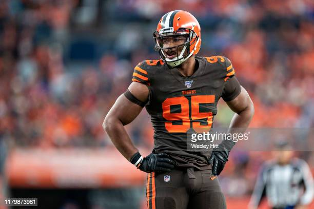 Myles Garrett of the Cleveland Browns looks over the offense during the second half of a game against the Denver Broncos at Broncos Stadium at Mile...
