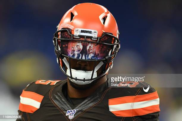Myles Garrett of the Cleveland Browns participates in warmups prior to a game against the Indianapolis Colts at Lucas Oil Stadium on August 17 2019...