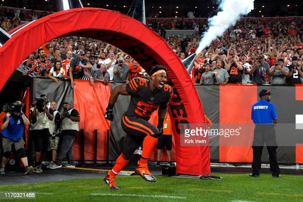 Myles Garrett of the Cleveland Browns runs on to the field prior to the start of the game agains the Los Angeles Rams at FirstEnergy Stadium on...