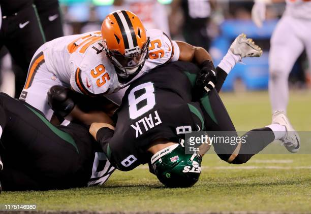 Myles Garrett of the Cleveland Browns sacks Luke Falk of the New York Jets in the third quarter at MetLife Stadium on September 16 2019 in East...