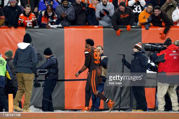 Myles Garrett of the Cleveland Browns walks off of the field after being ejected for fighting at the end of the game against the Pittsburgh Steelers...