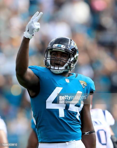 Myles Jack of the Jacksonville Jaguars celebrates a defensive stop during the game against the New England Patriots at TIAA Bank Field on September...