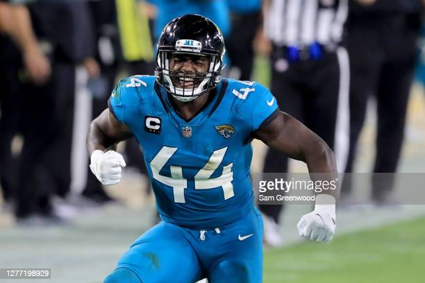 Myles Jack of the Jacksonville Jaguars celebrates a defensive stop during the game against the Miami Dolphins at TIAA Bank Field on September 24,...